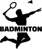Badminton player silhouette with word Stock Images