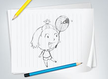 Badminton player sketch Royalty Free Stock Images