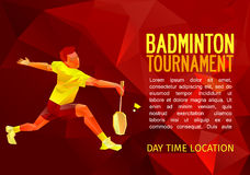 Badminton player, vector illustration with empty space for poster, banner, tournament announcement Stock Photography