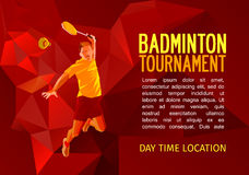 Badminton player, vector illustration with empty space for poster, banner, tournament announcement Stock Photos