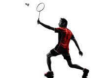Badminton player young man silhouette Royalty Free Stock Image