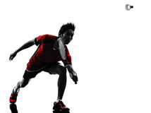 Badminton player young man silhouette Stock Image