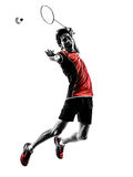 Badminton player young man silhouette. One asian badminton player young man  in silhouette isolated white background Stock Image