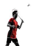 Badminton player young man silhouette Stock Photos
