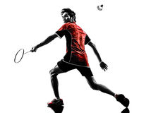 Badminton player young man silhouette Stock Images