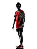 Badminton player young man silhouette Royalty Free Stock Images
