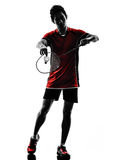 Badminton player young man silhouette Royalty Free Stock Photos