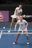 Badminton players Eefje Muskens and Selena Piek stock photography