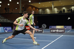 Badminton players Koen Ridder and Ruud Bosch Royalty Free Stock Photography