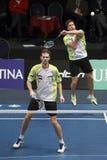 Badminton players Koen Ridder and Ruud Bosch royalty free stock photos