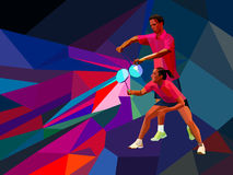 Badminton players mixed doubles team, man and woman start badminton game, vector badminton serve Royalty Free Stock Images