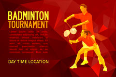 Badminton players mixed doubles team. Badminton mixed doubles team, man and woman start badminton game, vector sports illustration in polygonal triangles design Stock Image