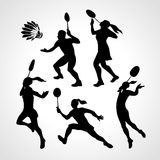 Badminton Players Silhouettes Set Stock Photography