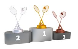 Badminton Podium with Gold Silver and Bronze Trophy Stock Photos