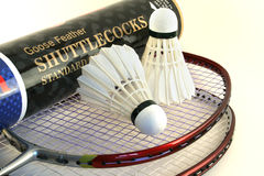 Badminton racket. S and two shuttlecocks on a white background Stock Photo