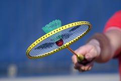 Badminton racket. Man's hand holding badminton racket Royalty Free Stock Photos