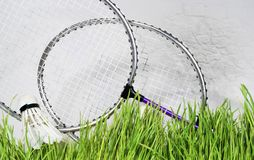 Badminton racket against a brick wall background. Green grass Royalty Free Stock Photos