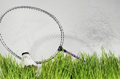 Badminton racket against a brick wall background. Green grass Royalty Free Stock Image