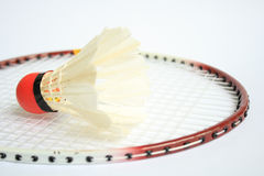 Badminton racket with ball Royalty Free Stock Images