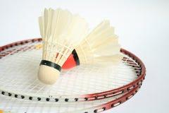 Badminton racket with ball Stock Photos