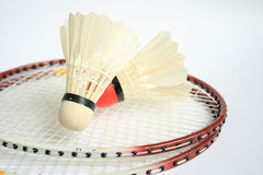 Badminton racket with ball. The badminton racket with ball Stock Photos