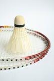 Badminton racket with ball Stock Photo