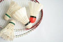 Badminton racket with ball. The badminton racket with ball Stock Image