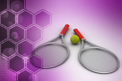 Badminton racket with ball. In color background Stock Images