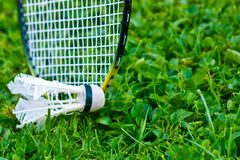 Badminton racket on grass. And Shuttlecock stock photography