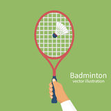 Badminton racket in hands player Royalty Free Stock Photo