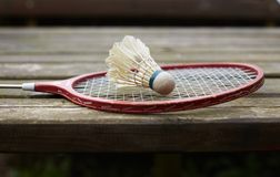 Badminton racket on the old table Stock Image