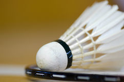 Badminton racket over white line Royalty Free Stock Image