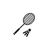 Badminton racket with shuttelcock vector icon. On white background Stock Images