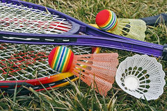 Badminton racket and shuttlecoc - 3 Royalty Free Stock Photography