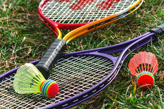 Badminton racket and shuttlecoc - 4 Royalty Free Stock Photo