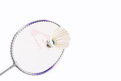 Badminton racket and shuttlecock Royalty Free Stock Images
