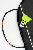 Badminton racket and shuttlecock Stock Photo