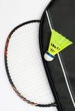 Badminton racket and shuttlecock. On white background Stock Photo