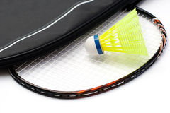 Badminton racket and shuttlecock. On white background Royalty Free Stock Image