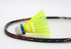 Badminton racket and shuttlecock. On white background Royalty Free Stock Photos