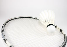 Badminton racket and shuttlecock Royalty Free Stock Photos