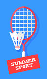 Badminton racket and shuttlecock on blue background. Sport banner in flat style. Vector Royalty Free Stock Photography