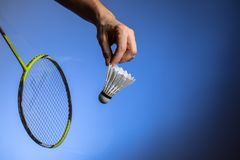 Badminton racket and shuttlecock in motion royalty free stock image