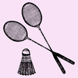 Badminton racket and shuttlecock. Doodle style, sketch illustration Stock Images