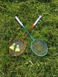 Badminton Racket And Shuttlecock Equipment Stock Photo