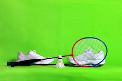 Badminton racket and shuttlecock feathers on light green background with text space. Badminton shuttlecock and racket lie on the green background with copy Stock Photography