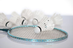 Badminton racket with shuttlecock. Royalty Free Stock Image