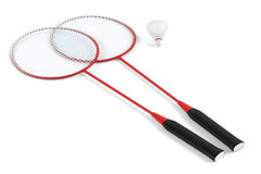 Badminton racket and shuttlecock isolated Stock Photography