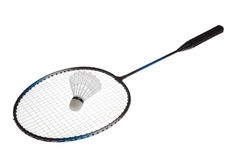 Badminton racket. And shuttlecock isolated on white background Stock Photo