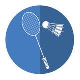 Badminton racket shuttlecock sport shadow Royalty Free Stock Photos